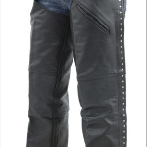 Women's Naked Cowhide Leather Chaps with Studs