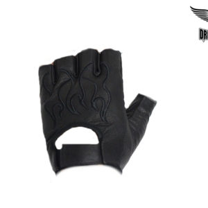 Motorcycle Fingerless Leather Gloves With Embroidered Black Flame