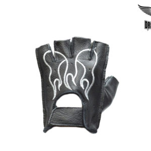 Fingerless Gloves With White Flames
