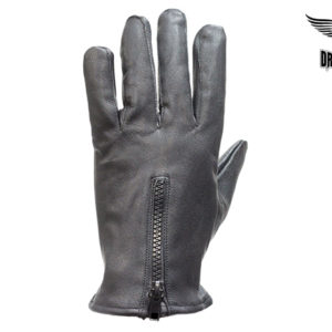 Leather Driving Gloves With Zipper & No Lining